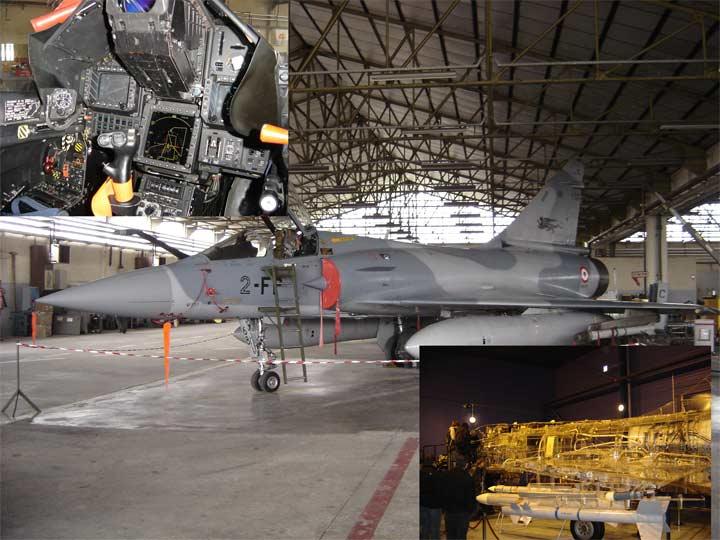 Un mirage, le mirage Cristal (en bas) et un cockpit de Mirage 2000-5 (en haut)