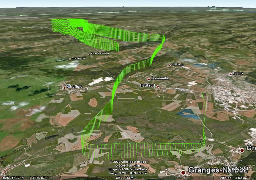 Trace GPS du vol du 3 janvier 2009