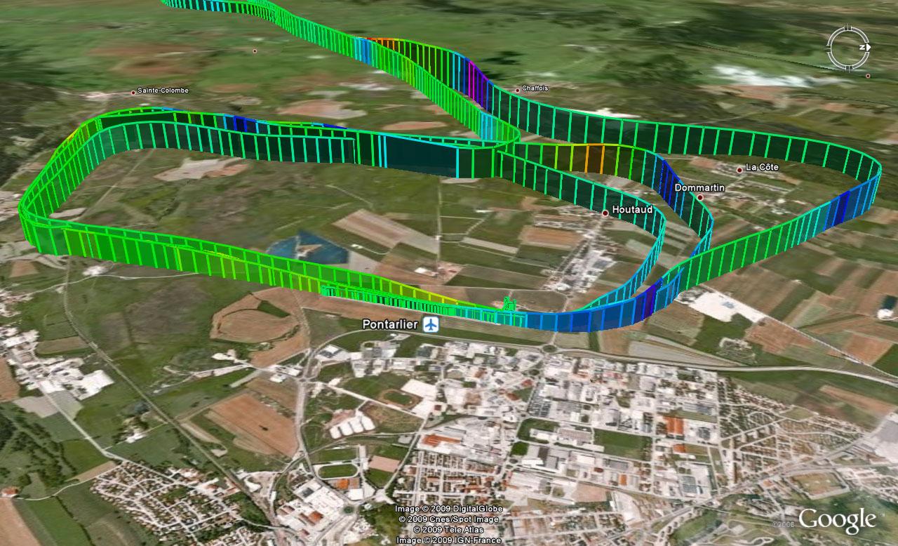Trace GPS du vol du 12 avril 2009 (détail des TdP)