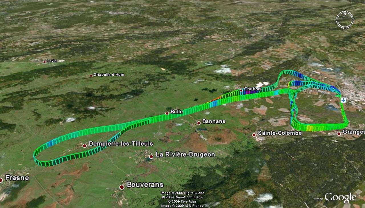 Trace GPS du vol du 12 avril 2009