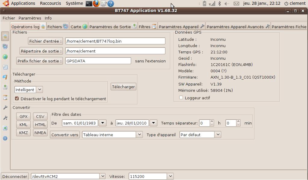Copie d'écran de la fenêtre principale de BT747