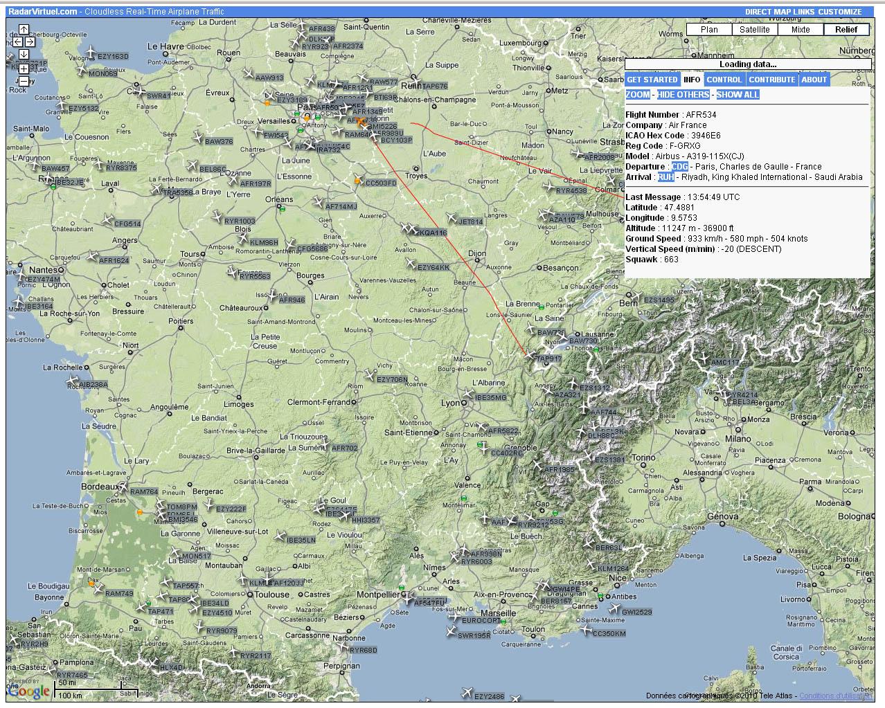Radar Virtuel sur la France