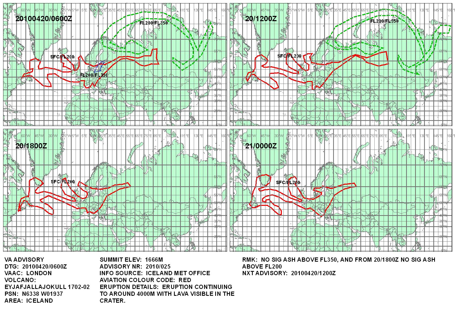 Carte de l'Office Météorologique Londonien sur l'évolution prévue du nuage de cendres volcaniques islandaises, carte établie le 20/04/2010 à 6h00Z (soit 08h00 heure locale Française), le dernier encart en bas à droite indique l'état prévu du nuage de cendres le 21/04/2010 à 0h00