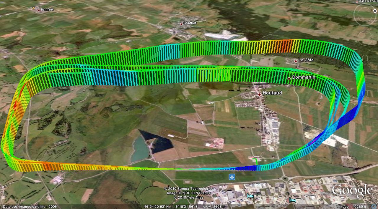 Trace GPS vol du 10 mars 2010