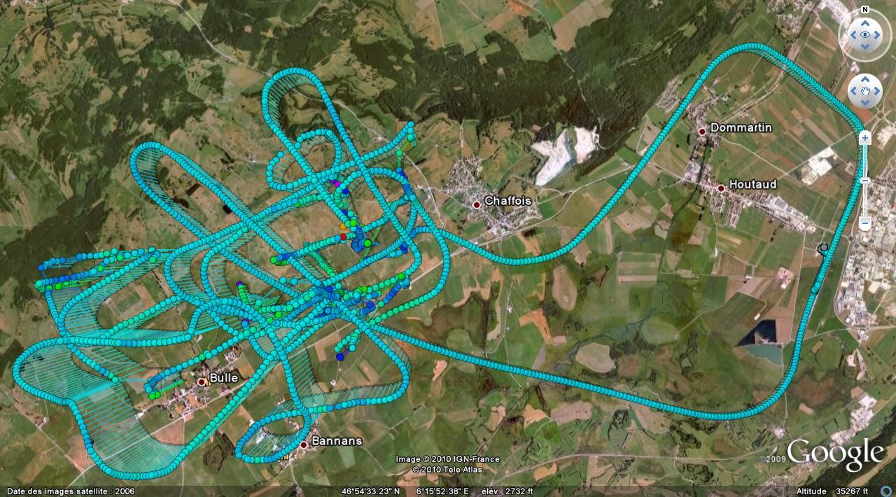 Trace GPS de ma séance de voltige - 17 avril 2010 - Vue générale