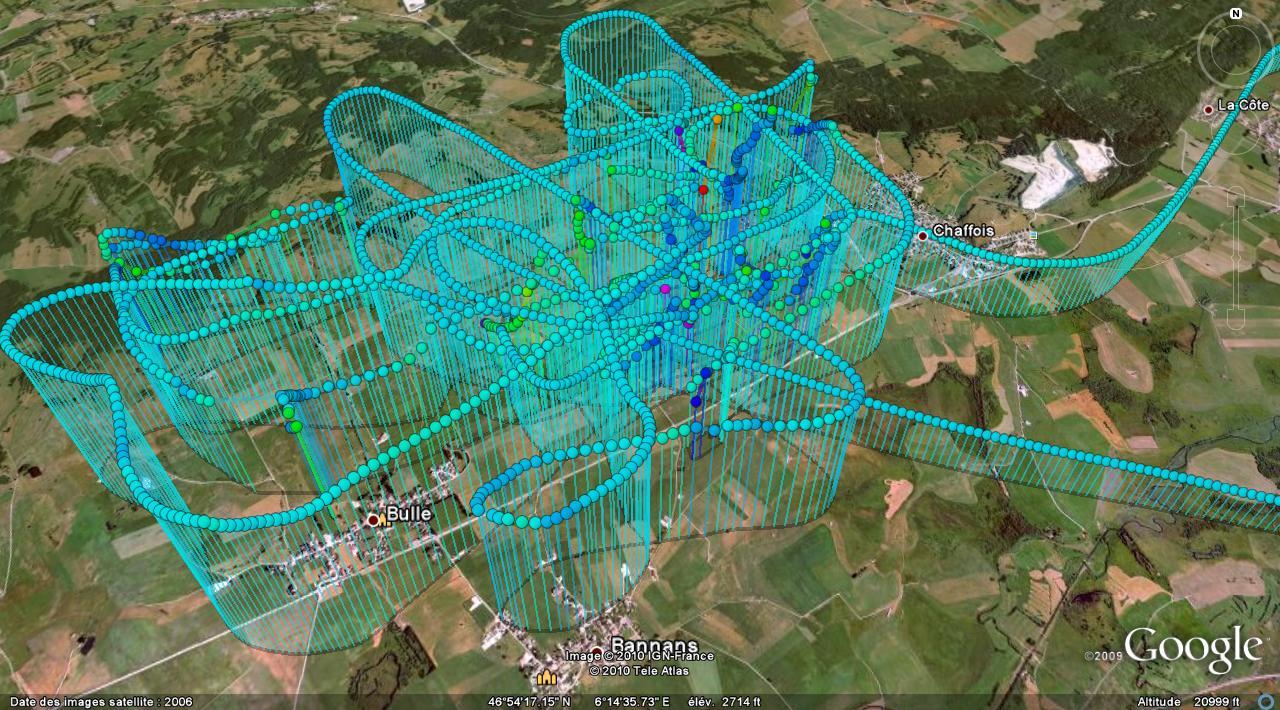 Trace GPS de ma séance de voltige - 17 avril 2010 - Détail