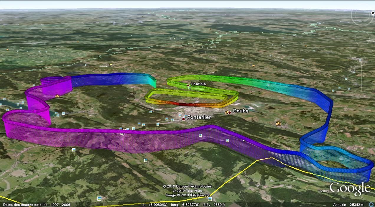Trace GPS de mon vol local solo du 24 mai 2010
