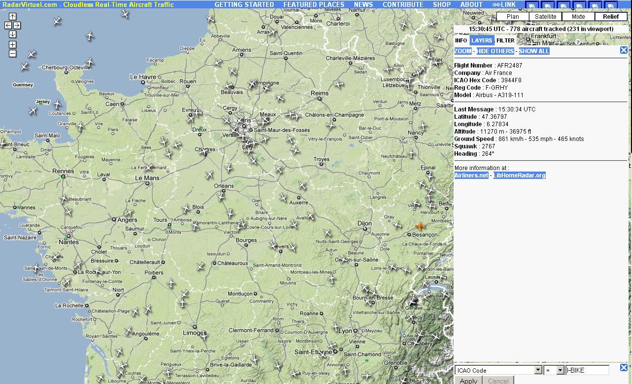 Le vol AF2487 repéré sur Radar Virtuel