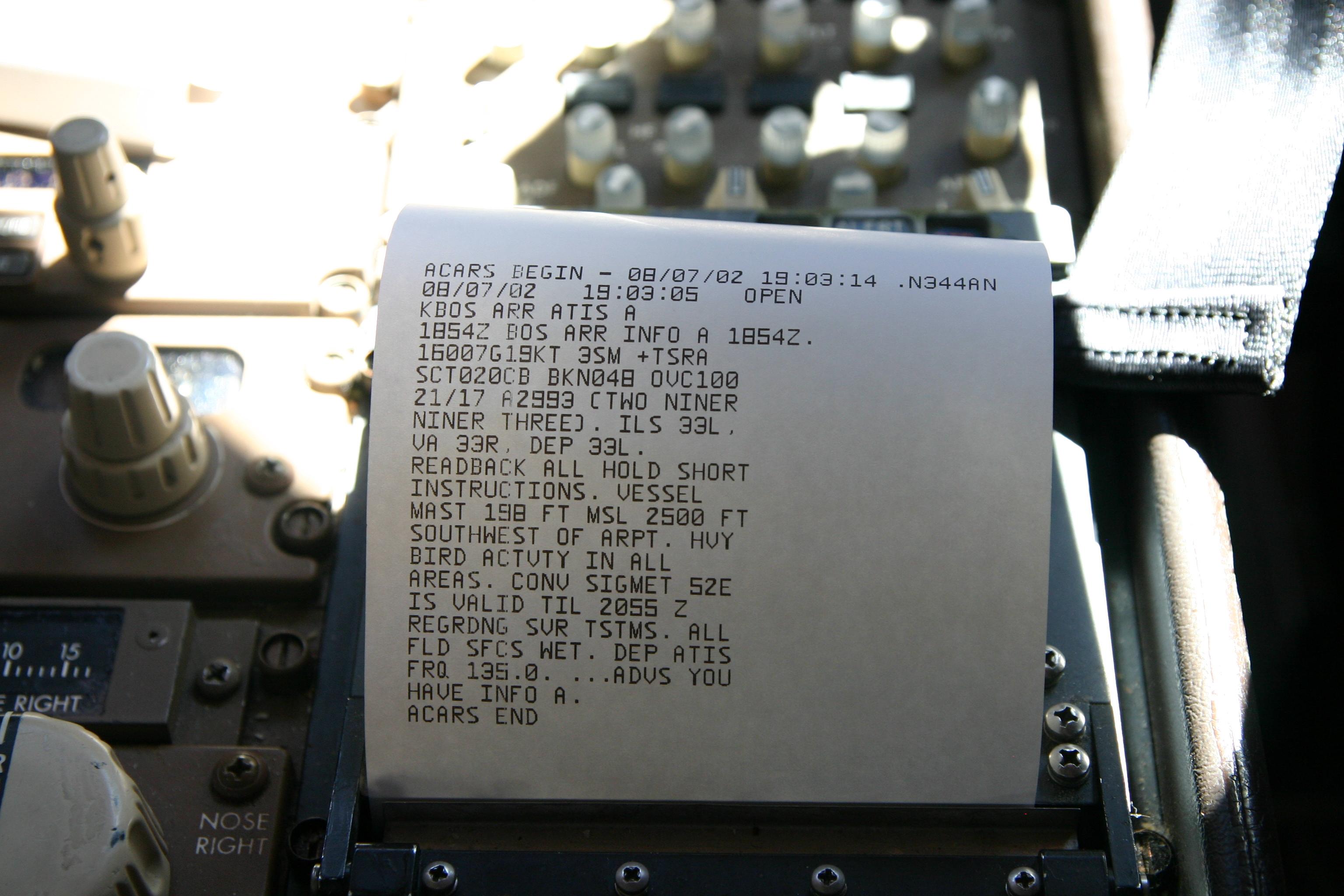 Imprimante de message ACARS d'un Boeing 757