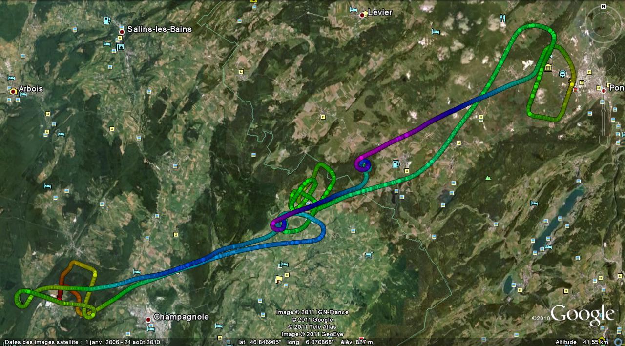 Trace GPS de ce vol LFSP-LFGX-LFSP (Pontarlier - Champagnole Crotenay - Pontarlier)
