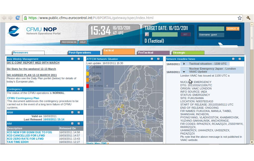 L'alerte sur le site CFMU d'Eurocontrol