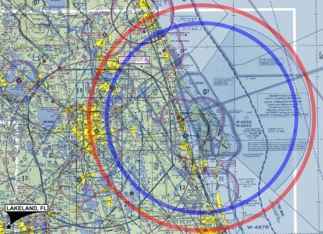 """La """"No Fly Zone"""" de la navette spatiale sur une carte de nav """"Sectional Chart"""" américaine"""