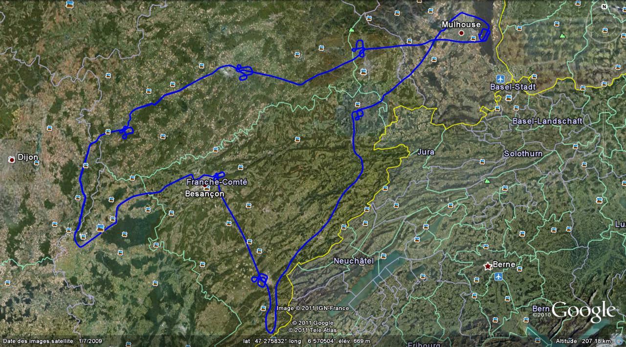 La trace GPS de ce tour de Franche-Comté