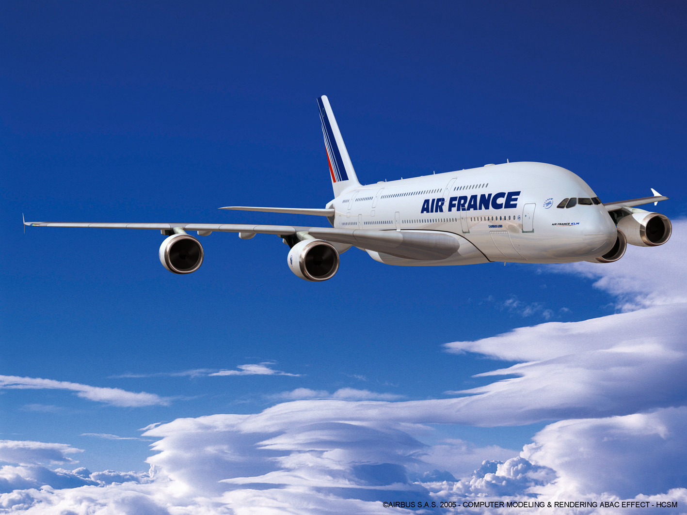 Un A380 d'Air France (image de synthèse - copyright Airbus)