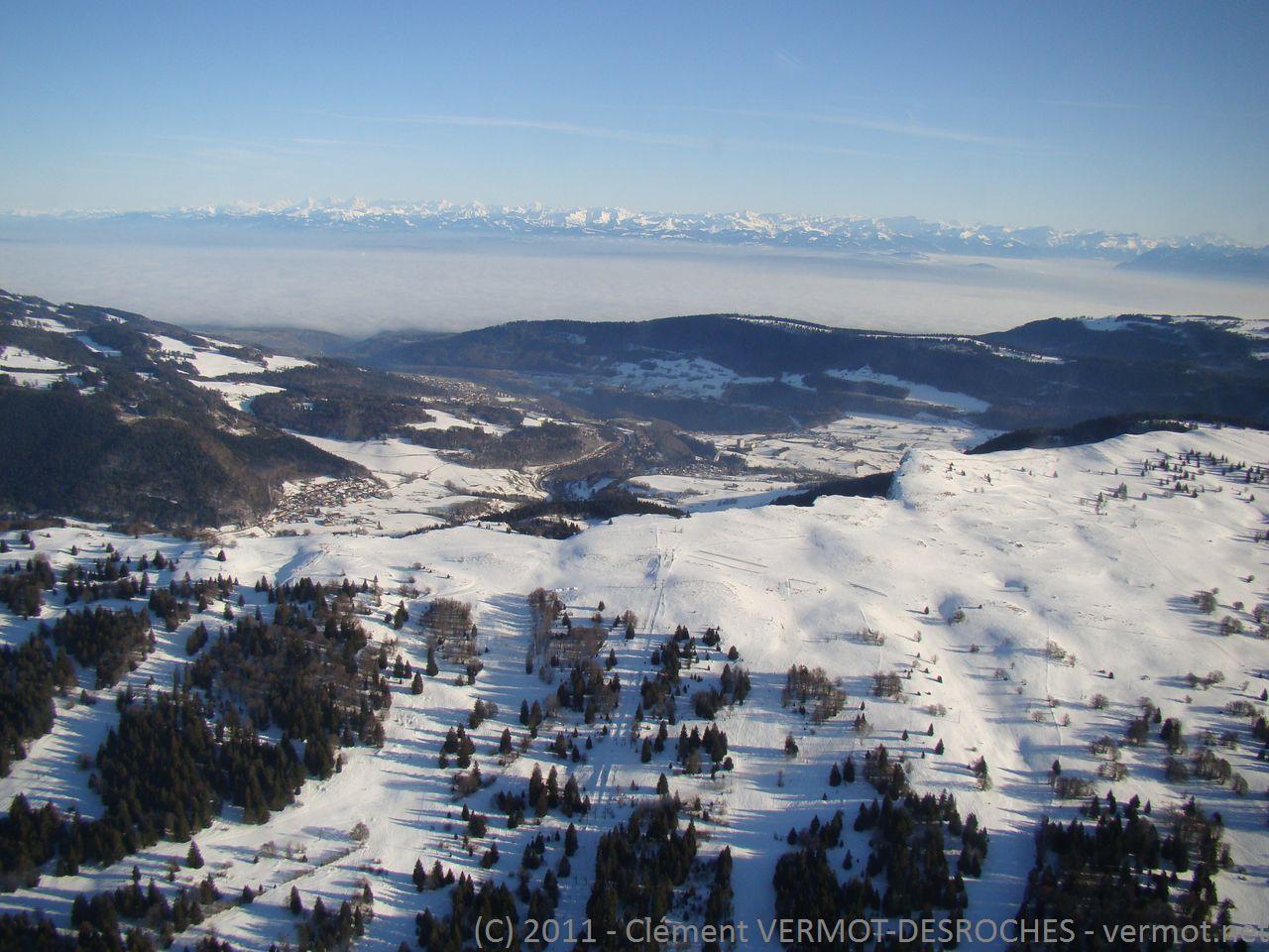 Les pistes de ski sur le mont d'Or, versant ouest