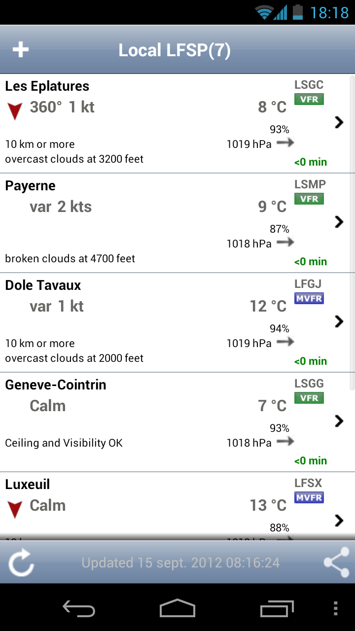 AeroWeather : le menu