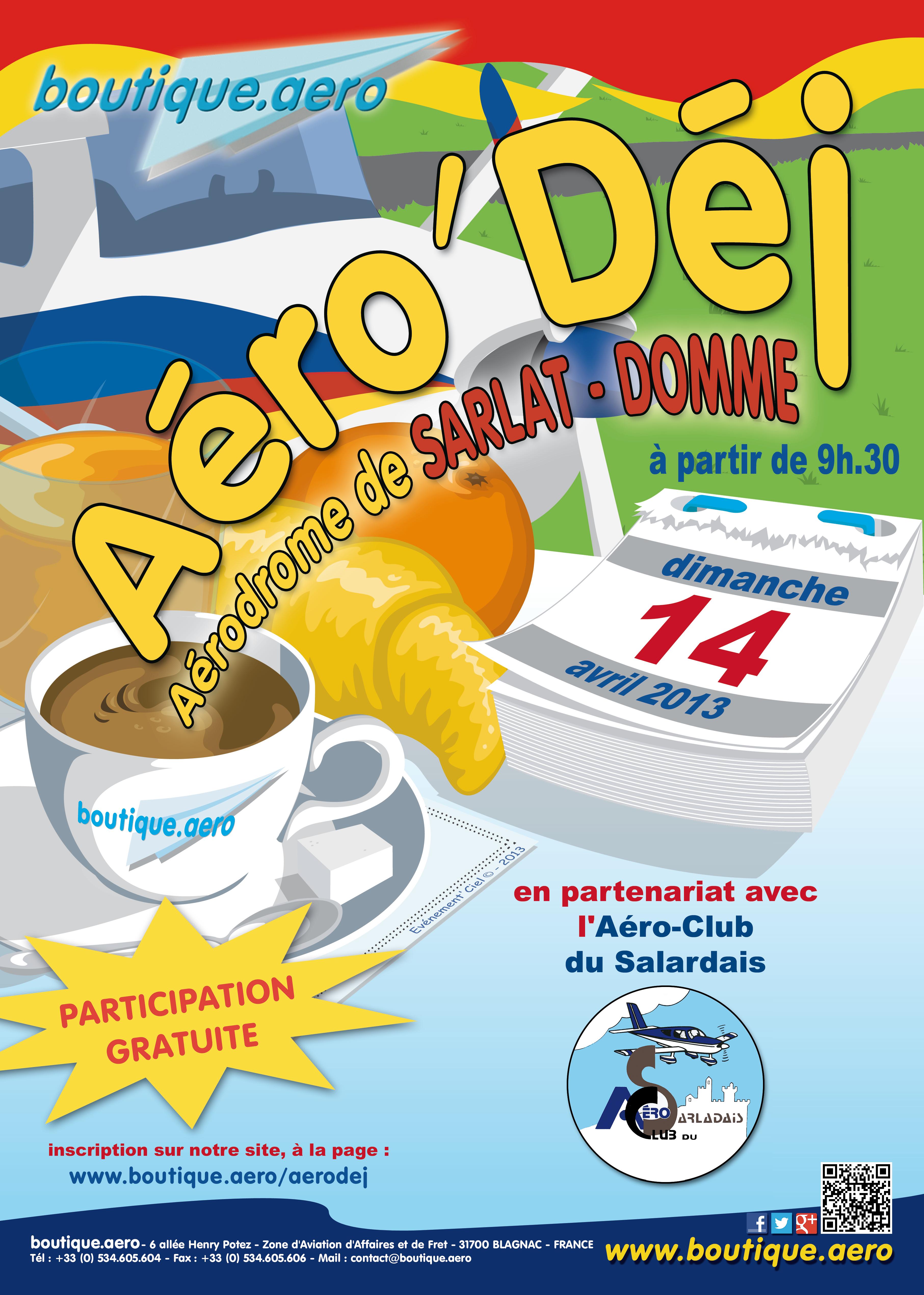 Affiche de l'Aérodej de Sarlat - 14 avril 2013