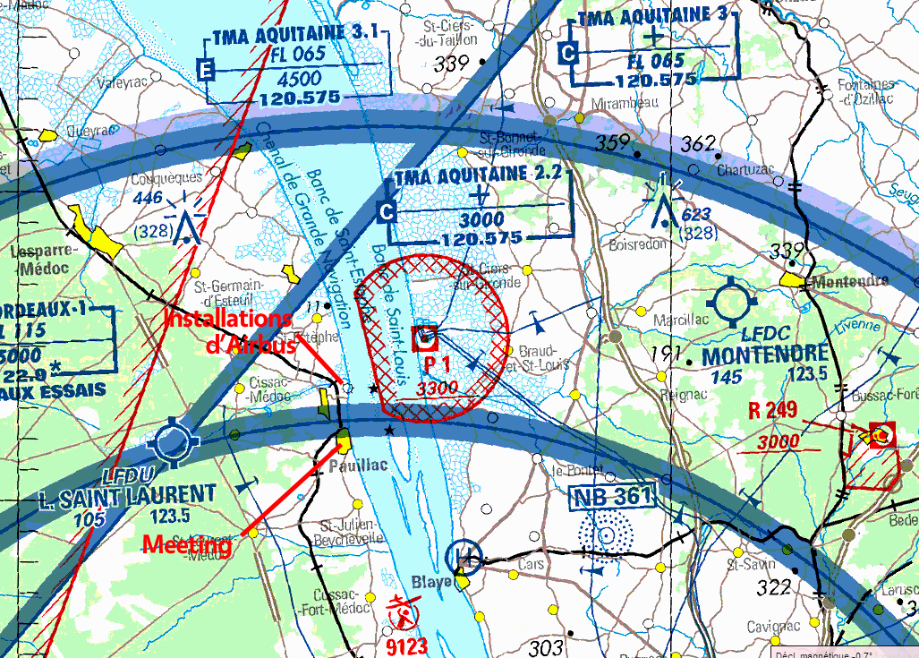 Situation des installations d'Airbus et du meeting
