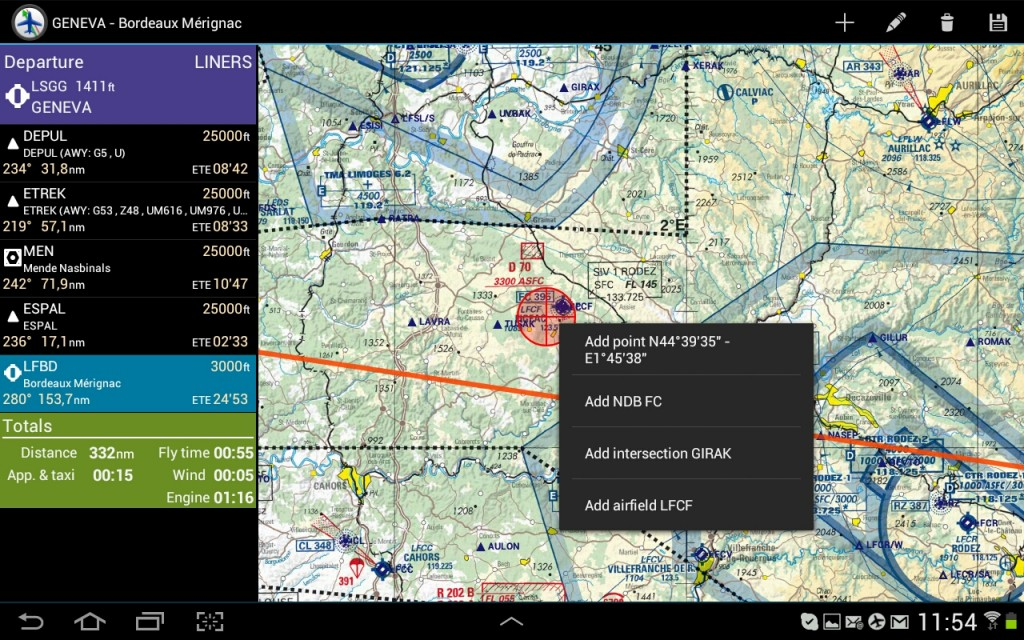 Flight Assistant - écran de préparation de nav