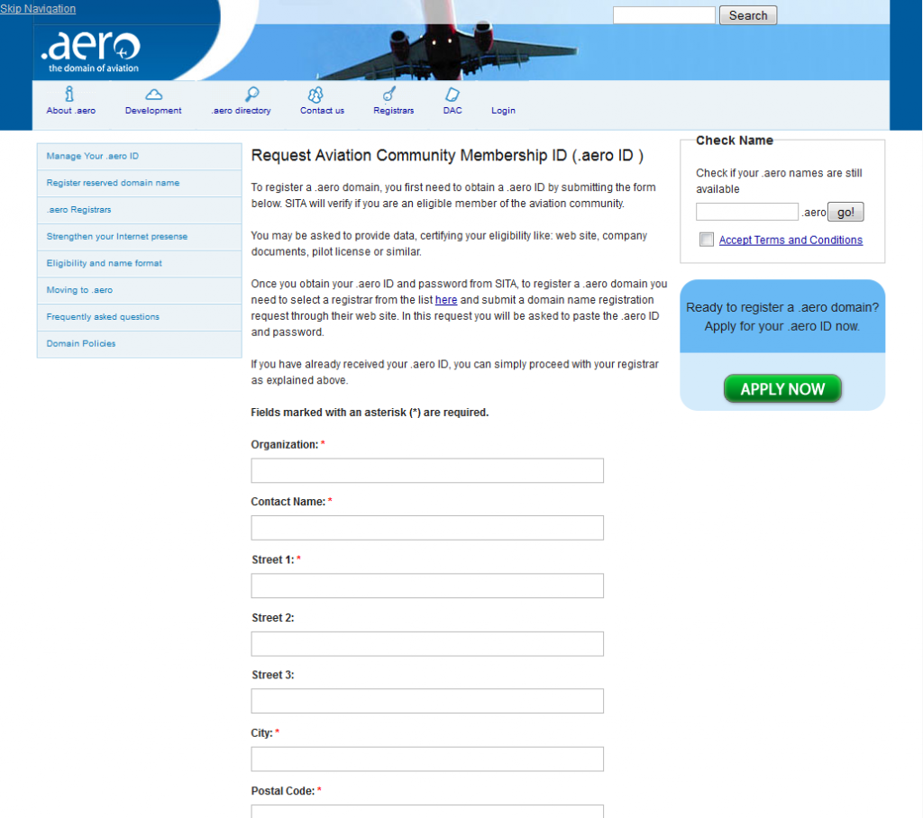 Formulaire de demande de .aero ID