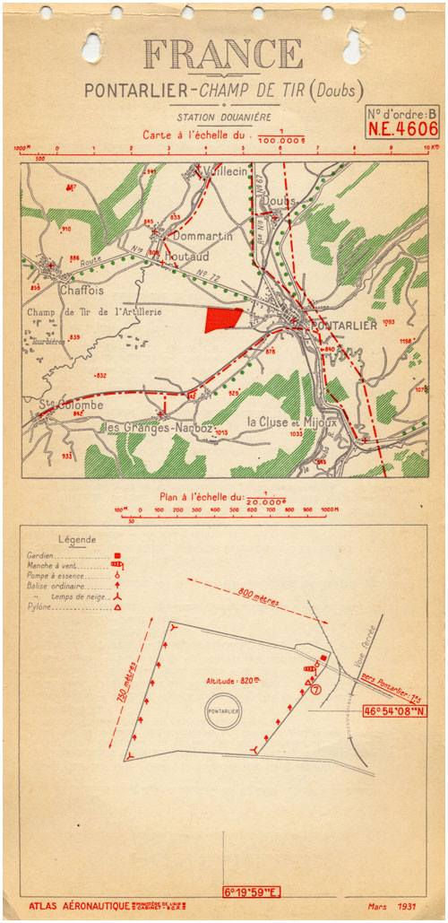 Carte de terrain de Pontarlier, mars 1931
