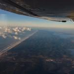 Début de descente au sud de Mimizan, au premier plan