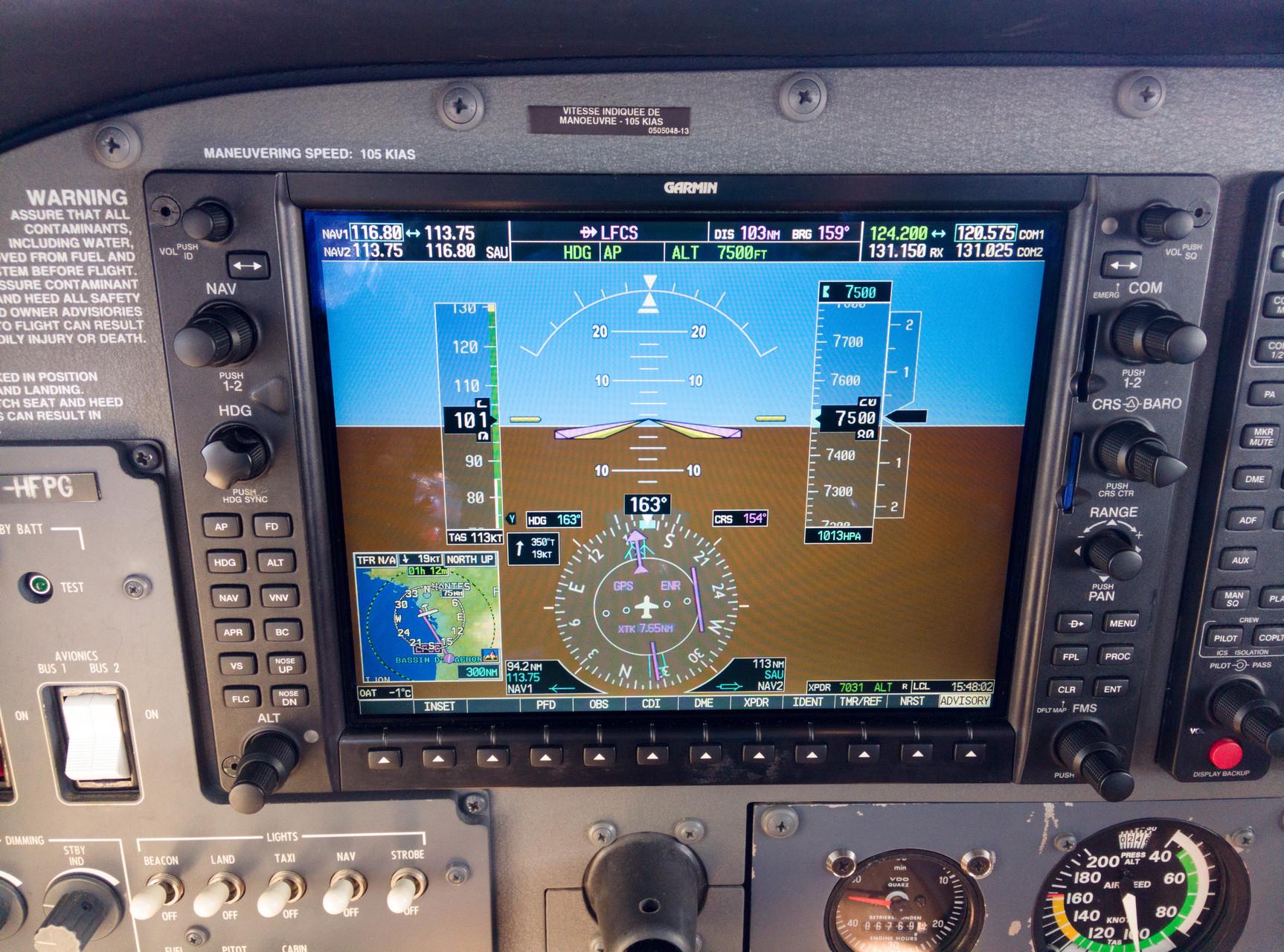 Le PA et le G1000 font leur boulot : stable au FL75 !